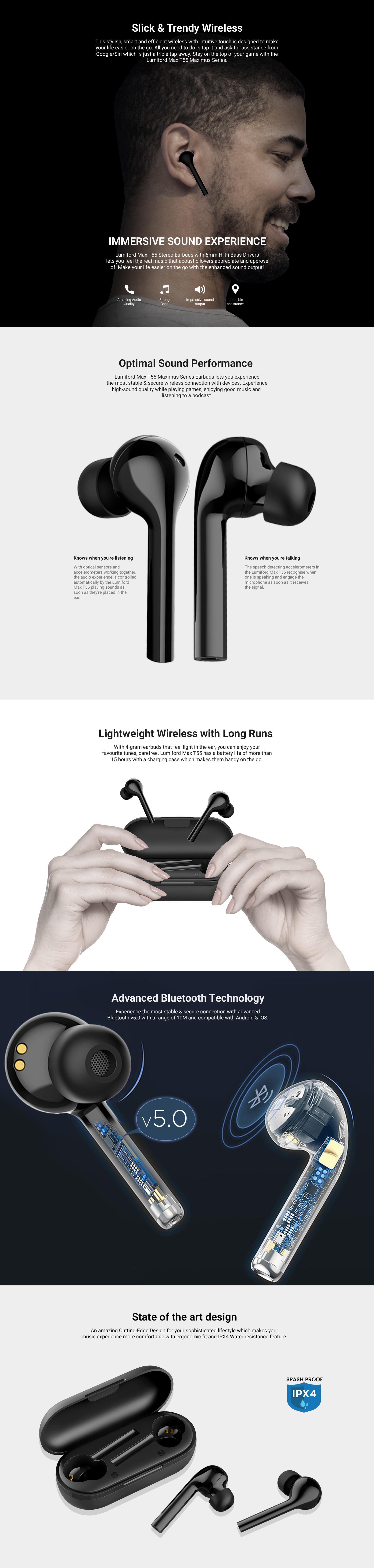 LUMIFORD Max T55 True Wireless Earbuds